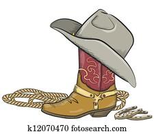 cowboystiefel, mit, westlicher hut, freigestellt, wei?