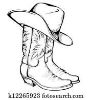cowboystiefel, und, hat., vektorgrafik, abbildung, freigestellt