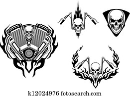 Death monster for racing mascot or tattoo