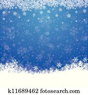 fall snow stars blue white background