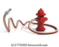 fire hydrant with fire hose