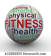 Fitness worcloud word tags ball