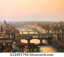 Florence Sunset Over Ponte Vecchio