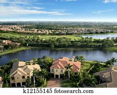 Florida Neighborhood Flyover Aerial