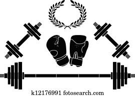gewichte, und, boxer, handschuhe