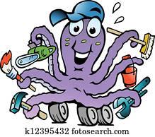 glücklich, emsige, oktopus, heimwerker