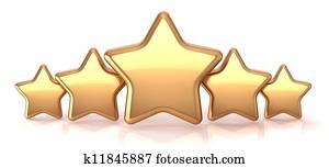 Gold stars five golden star service
