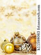 Golden Christmas ornaments background