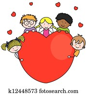 Group of children with a heart