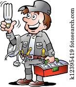 Handyman, holding a bulb