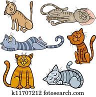 happy and sleepy cats cartoon set