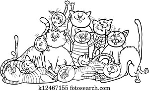 happy cats group cartoon for coloring book