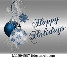 Happy Holidays - blue