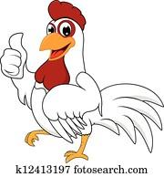 Happy White Chicken With OK