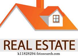 haus, dach, logo, für, real estate