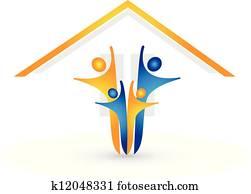 haus, und, glückliche familie, logo, vektor