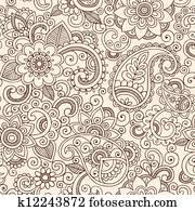 Henna Mehndi Paisley Floral Pattern