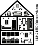 Icon of house with planning
