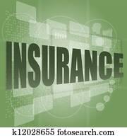 insurance word on digital screen
