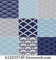 japanese seamless wave pattern
