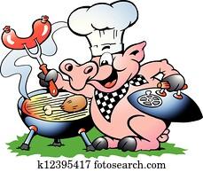 küchenchef, schwein, stehen, und, machen, grillspass