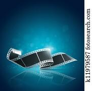 kamera- film, rolle, blauer hintergrund