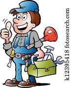 klempner, handyman,, geben, daumen