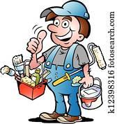 lackierer, handyman,, geben, daumen