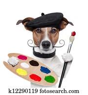 lackierer, künstler, hund