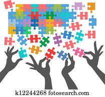 leute, zusammenfuehren, to, finden, puzzel, anschlüsse