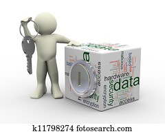 Man and data protection concept
