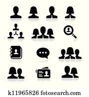 Man woman user vector icons set