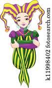 Mardi Gras harlequin lady
