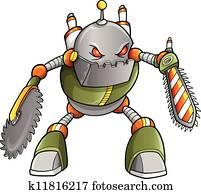 massiv, krieger, roboter, cyborg