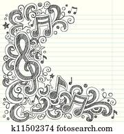 Music Doodle Vector Page Border