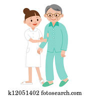 nurse helping an elderly man