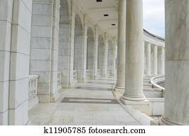 Pillars and Arch Hallway