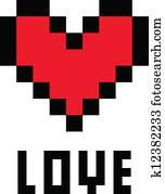 Pixel Coeur Amour Clipart K12382234 Fotosearch