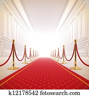 Red carpet path to success light.