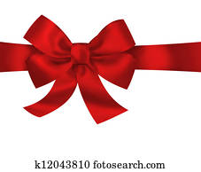 Red gift ribbon bow isolated on white background. Bright holiday illustration