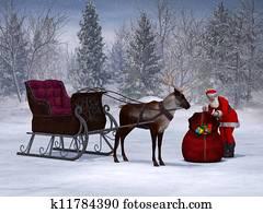 Santa preparing his sleigh ride.