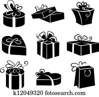 satz, von, geschenk boxt, heiligenbilder, schwarz wei?, abbildungen