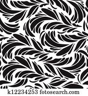 Seamless doodle black peacock feathers pattern.