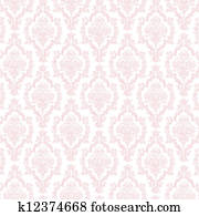 Seamless Pastel Pink & White Damask