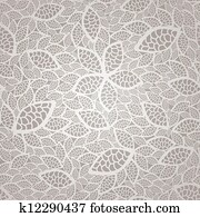 Seamless silver lace leaves pattern