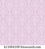 Seamless White & Lavender Damask