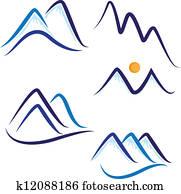 Set of stylized snow mountains logo