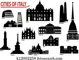 Silhouettes of Italian cities