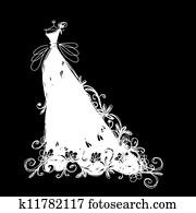 skizze, von, heiraten kleid, für, dein, design