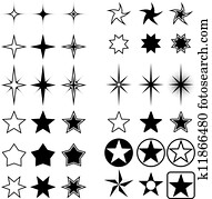 Star shapes isolated on white.